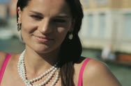Portrait charming beautiful woman, Venice Stock Footage
