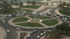 Roundabout, Crowded Intersection, Qatar, Doha Corniche, Persian Gulf, Arabian Stock Footage