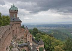 haut-koenigsbourg castle in stormy ambiance - stock photo