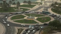 Roundabout, Crowded Intersection, Persian Gulf, Arabian, Qatar, Doha Corniche Stock Footage
