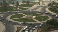 Qatar, Doha Corniche, Roundabout, Crowded Highway, Persian Gulf, Arabian Stock Footage