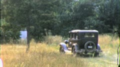 OLD CAR MODEL T Ford Field Country Road Lane 1930s Vintage Film Home Movie 5081 Stock Footage