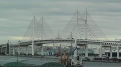 Yokohama Japan Metropolitan Expressway Bridge over the Bay Stock Footage