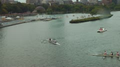 Harvard University Teams Rowing In Back Bay Boston Charles River Stock Footage