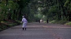 Meiji Shrine Sweeper - stock footage