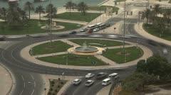 Qatar, Doha Corniche, Roundabout, Crowded Intersection, Persian Gulf, Time Lapse Stock Footage