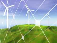 wind turbines on green hill - stock illustration