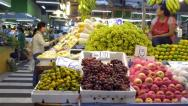 Thailand fruit market - talking with customer Stock Footage