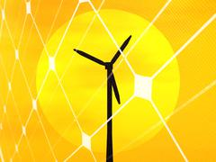 wind turbine and sun - stock illustration
