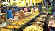 Busy Food Market in Bangkok, Thailand Stock Footage