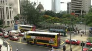 Fast motion of Aerial view of Central District in Hong Kong, traffic streetChina Stock Footage