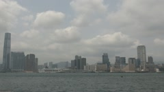 Fast motion of Kowloon Peninsula, Victoria Harbour, Hong Kong, China Stock Footage