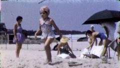 MOTHER AND DAUGHTERS At the Beach 1960 (Vintage Old Film Home Movie) 5105 Stock Footage