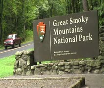 Stock Video Footage of Great Smoky Mountains Sign