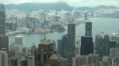 Timelapse Fast motion of Aerial view of Hong Kong by day, China Stock Footage