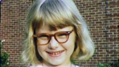 Nerdy LITTLE Blonde GIRL Portrait GEEK 1950s Vintage 8mm Film Home Movie 5107 - stock footage