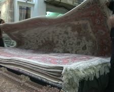 Iran  25  tehran market. carpets for sale Stock Footage
