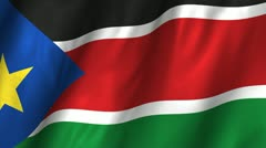 South Sudan Waving Flag Stock Footage