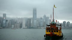 Mansoon, Ship, Skyscrapers, Hong Kong, Victoria Harbour, Kowloon Peninsula Stock Footage