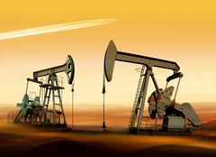 oil pumps in desert - stock photo