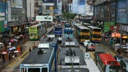 Stock Video Footage of Causeway Bay Shopping Area, Hong Kong Crowds Crowded Street, Car, Bus Traffic