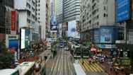 Stock Video Footage of Crowded Street, Car, Bus Traffic, Hong Kong Crowds Rush Hour Shopping Area
