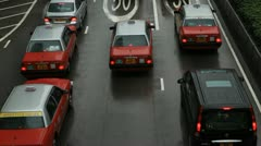 Mansoon Season, Hong Kong Island Cityscape, Rainy, Storm, Car Traffic, Commuters Stock Footage