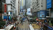Stock Video Footage of Shopping Area, Hong Kong Crowds Rush Hour Crowded Street, Car, Bus Traffic
