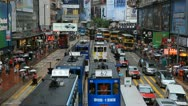 Stock Video Footage of Rush Hour Shopping Area, Hong Kong Crowds Crowded Street, Car, Bus Traffic