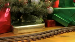 Toy train, christmas morning Stock Footage