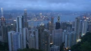 Fast motion of Aerial view of Hong Kong in twilight, China Stock Footage