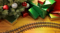 Toy train on Christmas morning Stock Footage