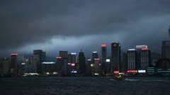 Monsoon, Ship, Night View, Hong Kong, Victoria Harbour, Kowloon Peninsula Stock Footage