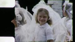 HAPPY GIRL CHRISTIAN 1st Communion 1960 (Vintage Old Film Home Movie) 5118 Stock Footage