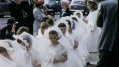 PROCESSION GIRLS 1st Communion 1960 (Vintage Old Film Home Movie) 5119 - stock footage