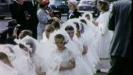 PROCESSION GIRLS 1st Communion 1960 (Vintage Old Film Home Movie) 5119 Stock Footage