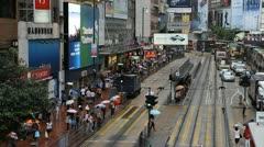 Rush Hour Hong Kong Crowds Shopping Area, Crowded Street, Car, Bus Traffic Stock Footage