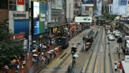 Stock Video Footage of Rush Hour Hong Kong Crowds Shopping Area, Crowded Street, Car, Bus Traffic
