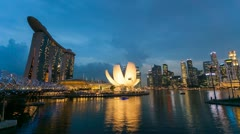Timelapse - Singapore Marina Bay Night City Skyline - stock footage