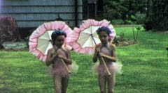 GIRLS IN PINK TUTUS Ballerinas Dance 1950s Vintage Film Home Movie Footage 5122 Stock Footage