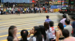 Hong Kong Crowds Rush Hour Shopping Area, Crowded Street, Car Traffic time lapse Stock Footage
