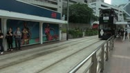 Timelapse Fast motion of tram traffic, station, Hong Kong, China Stock Footage