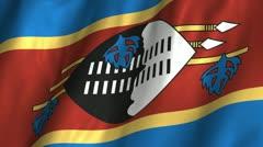 Swaziland Waving Flag Stock Footage