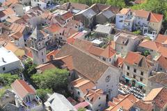view to old part of omis in croatia - stock photo