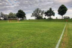 Dimly lit soccer pitch Stock Photos