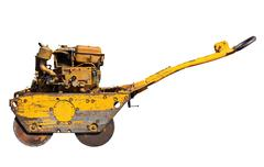 Old mini road roller for laying asphalt Stock Photos