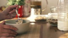 Woman hand eating mueasli, slow motion shot at 240fps HD Stock Footage