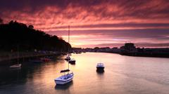sunset weymouth harbour england - stock photo