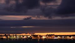 Dusk weymouth seafront england Stock Photos