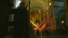 Inside Church Trinita Dei Monti, near Spanish Steps (8) Stock Footage